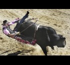 Garrett Pletan of Ramsay is throw from his bull at the Wilsall Rodeo, Sunday evening.